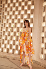 Acler Hooper pleated dress with spaghetti straps and asymmetrical hemline in golden abstract