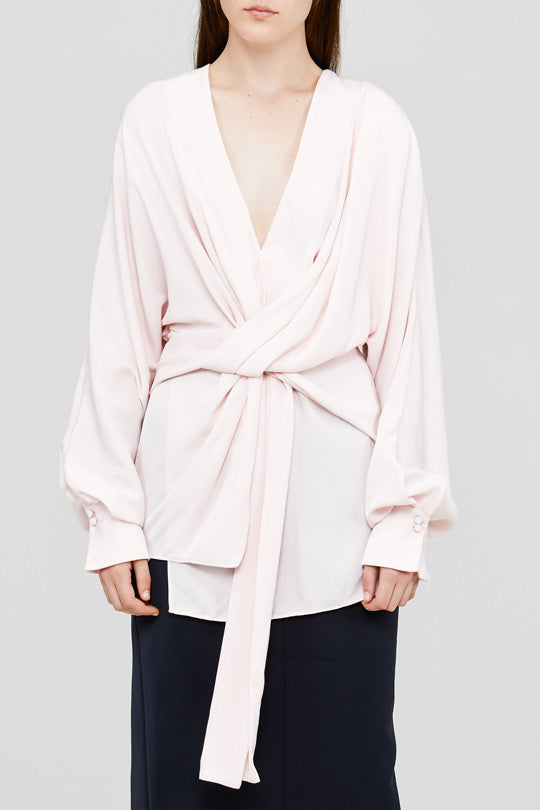 Pale Pink Acler Jenkins Blouse with Twist Detail