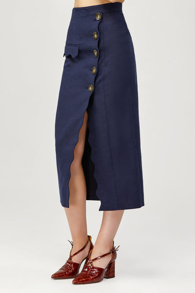 Acler Ladies Navy High Waisted Aslo Skirt with Scalloped Edge