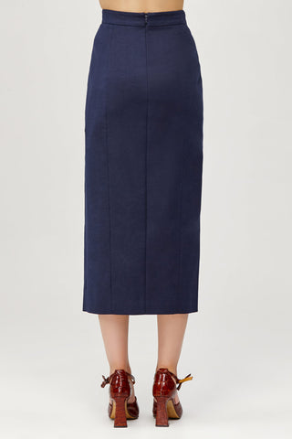 Acler Ladies Navy High Waisted Aslo Skirt with Scalloped Edge Back Detail