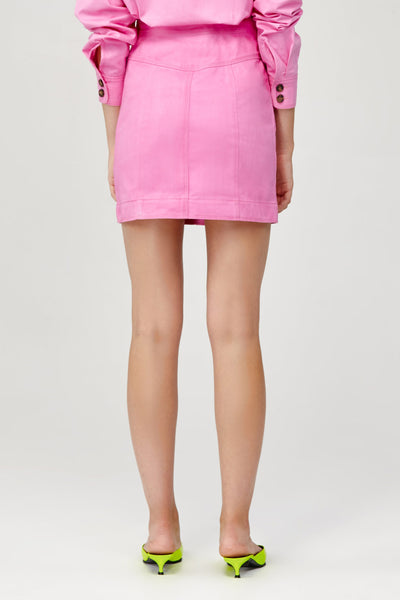 Acler Ladies Pink Denim Mini Skirt with Contrast Stitching Back Detail