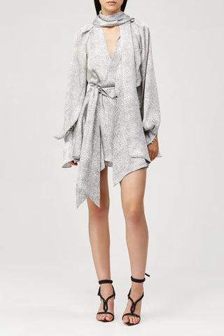 Acler Ladies Metallic Silver Doheny Mini Dress with V-Neck, Draped Wrap and Long Sleeves