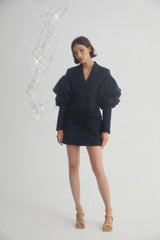 Acler Black Double-breasted Mini Blazer Dress with Exaggerated Puff Sleeves and Dual Pockets