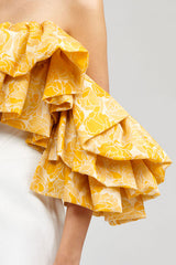 Yellow Ruffled Acler Boundary Bustier with sweetheart neckline - sleeve detail