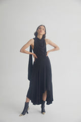 Acler Black Midi Length Dress with High Cowl Neck, Gathered Asymmetric Hemline and Neck Tie