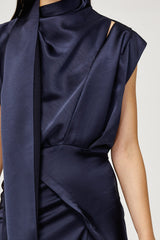 Acler Ladies Midnight Blue Dalisay Dress with Cowl Neck and Asymmetric Hem