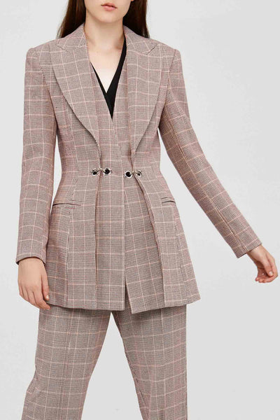 Acler Fitted Ladies Wool Blend Blazer in Clay Check