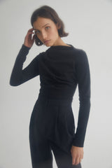 Acler Ladies Long Sleeved Black Top with High Asymmetrical Neckline