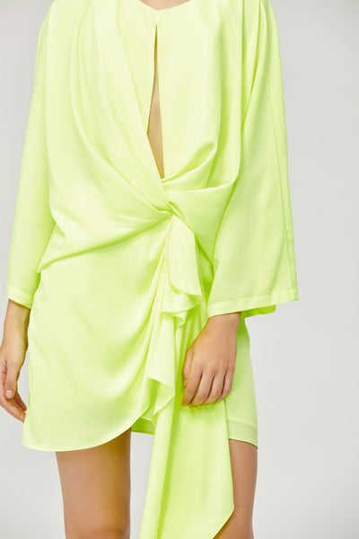 Acler Ladies Laurel Long Sleeved Mini Dress in Citrine Lime Green