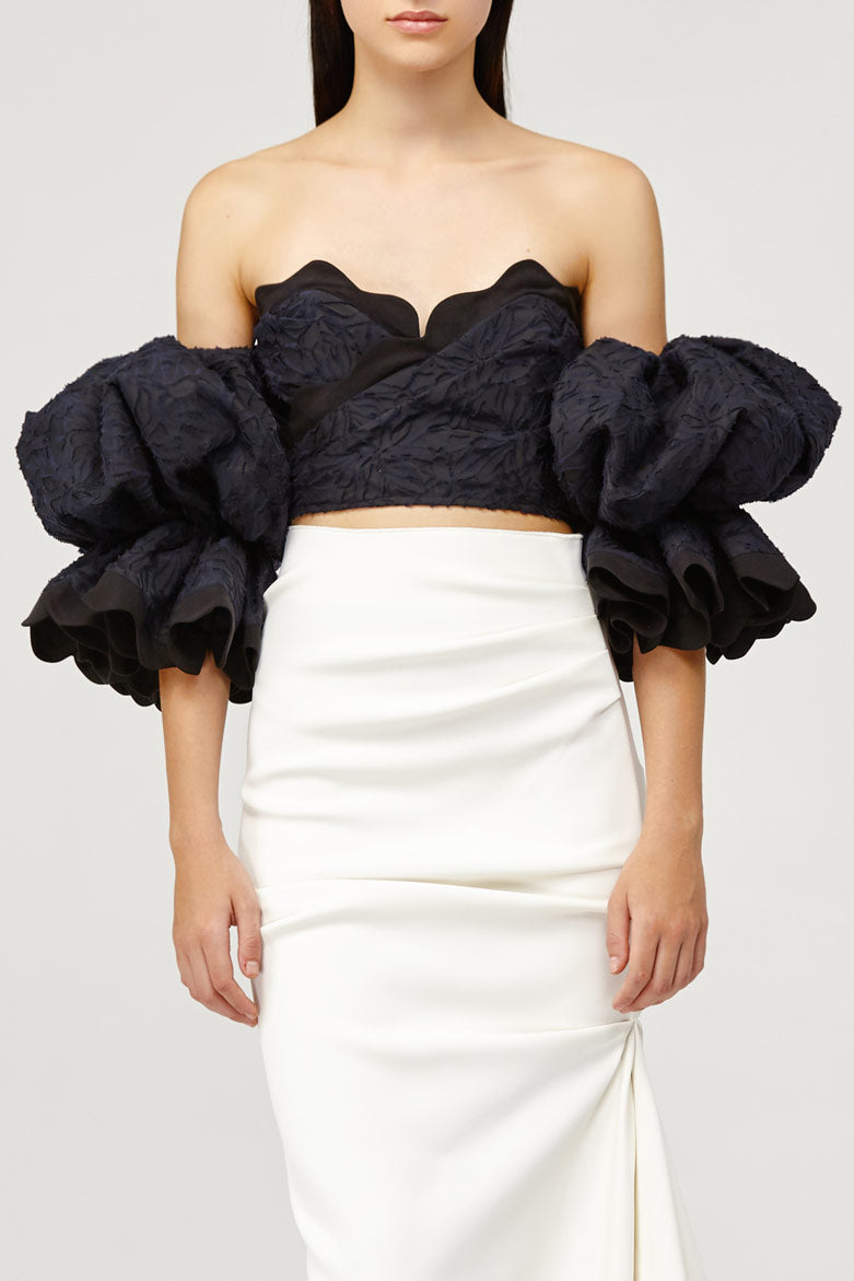 Acler Ladies Navy Lace Off the Shoulder Bodice Top with Scalloped Neckline
