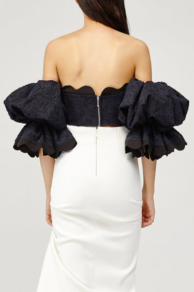 Acler Ladies Navy Lace Off the Shoulder Bodice Top with Scalloped Neckline Back Detail