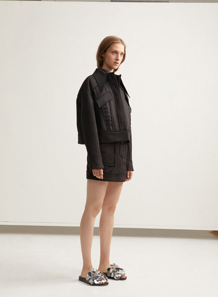 Black Ladies Oversized Acler Jacket with Lacing Detail