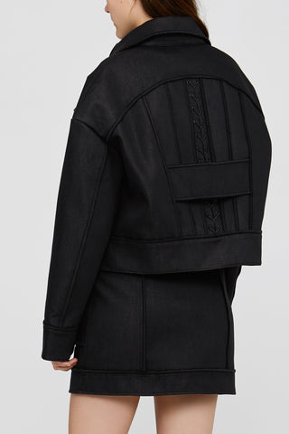 Black Ladies Oversized Acler Jacket Back Detail