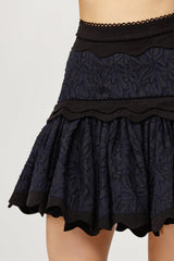 Acler Ladies Navy Lace Mini Skirt with Scalloped Edges and Ruffles