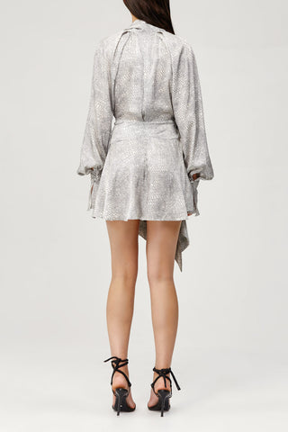 Acler Ladies Metallic Silver Doheny Mini Dress with V-Neck, Draped Wrap and Long Sleeves Back Detail