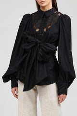 Black Acler Vicount Shirt with Exaggerated Sleeves and Embroidery Detail