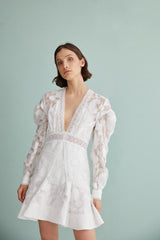 Acler Ivory Lace Mini Dress with v-neckline, Long Sleeves and Lace Trim Detail