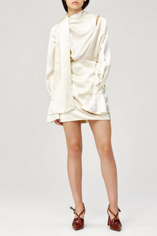 Acler Ladies Cream Soto Long Sleeved, Cowl Neck Mini Dress