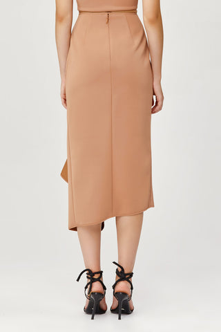 Acler Ladies Tan Crawford Skirt with Draped Wrap Back Detail