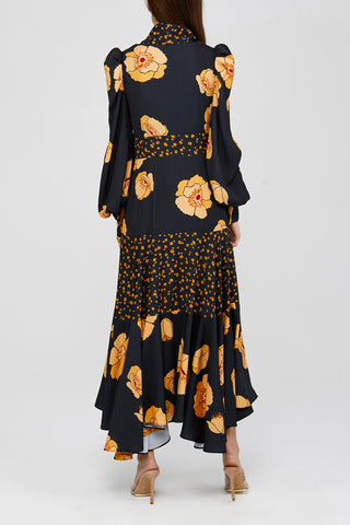 Black Acler Long Sleeved Ladies Dress with Orange Poppy Pattern Back Detail