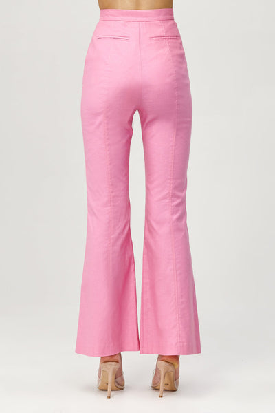 Acler Ladies Pink Aslo Flared Pants with Scalloped Front Pleat Back Detail
