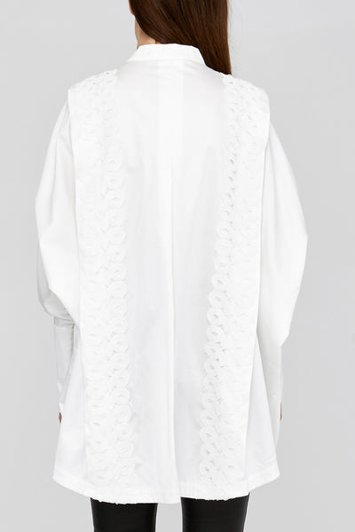 Acler White Ladies Loose Fitted Shirt with Over Exaggerated Cuffs