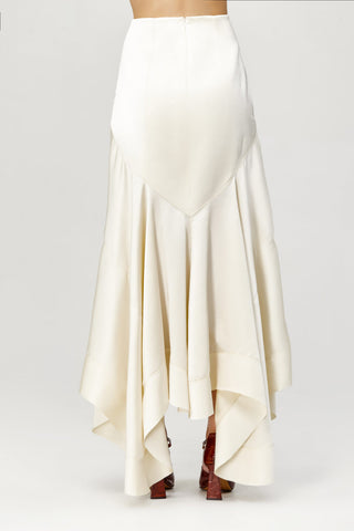 Acler Ladies Cream Soto High Waisted, Asymmetrical Skirt Back Detail