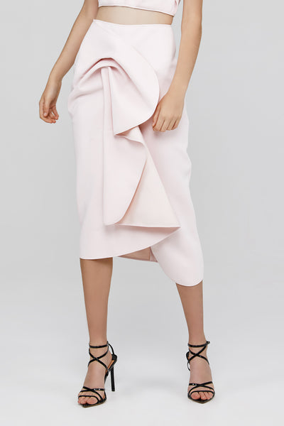 Pastel Pink Acler Crawford Skirt with Draped Wrap