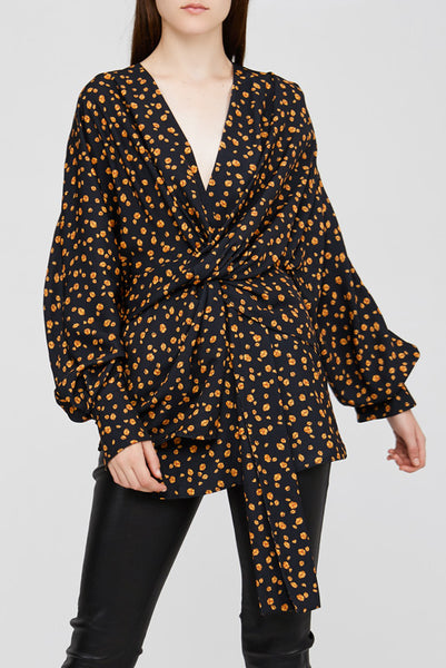 Black Acler Jenkins Blouse with Poppy Design and Twist Detail