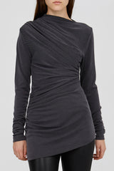 Grey Ladies Acler Long Sleeved Top with Gathered Detail