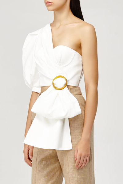 Acler Ladies White One (Cold) Shoulder Top with Draped Sash