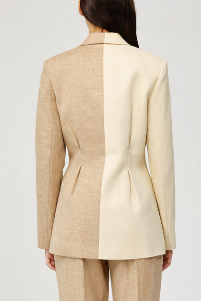 Acler Ladies Belvue Tailored Boyfriend Blazer in Bone Back Detail