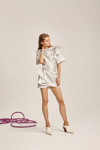 Acler Ladies Metallic Silver Bronte Mini Dress with Draped Wrap and Short Sleeves