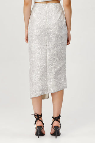 Acler Ladies Metallic Silver Crawford Skirt with Draped Wrap Back Detail