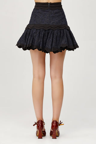 Acler Ladies Navy Lace Mini Skirt with Scalloped Edges and Ruffles Back Detail