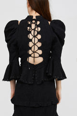 Ladies Black Structured Bodice Top with Peplum Hem and Cut Out Lace Up Back
