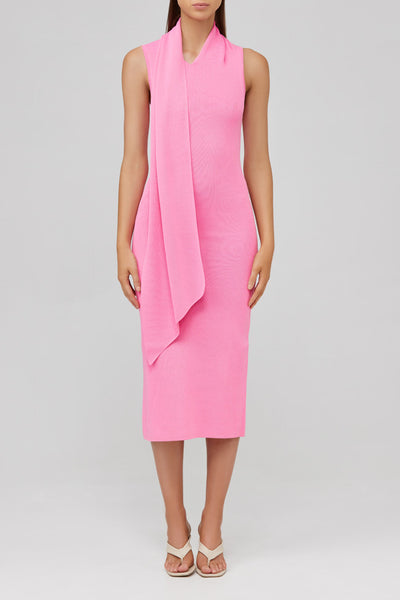 Acler Candy Pink, Fitted Knit Midi Dress with Neck Tie