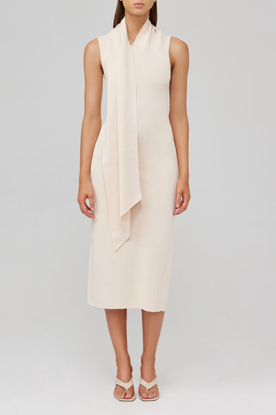 Acler eggshell fitted knit midi dress with attached neck tie