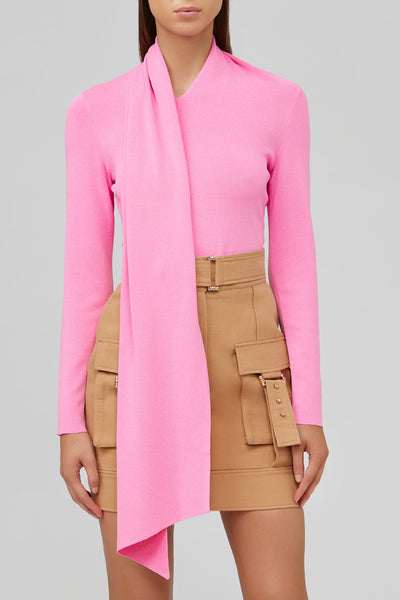 Acler Candy Pink, Long Sleeved Top with Neck Tie