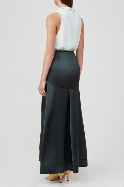 Acler Full Length Black Skirt with Asymmetric Hemline and Soft Tuck and Fold Detail