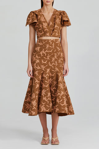 Acler Chocolate Brown Fit and Flare Midi Skirt with Palm Tree Pattern