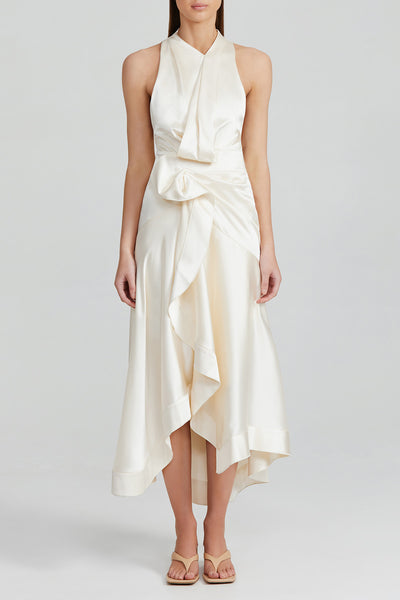 Acler Eggshell Midi Dress with High Neckline, Asymmetric Hemline and Soft Tuck and Fold Detail