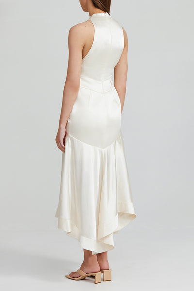 Acler Eggshell Midi Dress with High Neckline, Asymmetric Hemline and Soft Tuck and Fold Detail - Back View