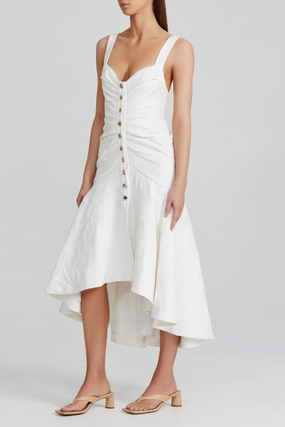 Acler Ivory Midi Dress with Asymmetric Hemline and Ruching Detail