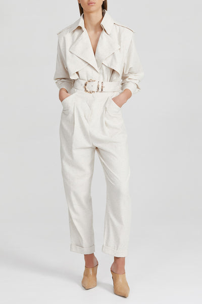 Acler Cream, Long Sleeved Ladies Pantsuit with Fabric belt with Gold Bamboo Hardware Belt and Collared v-neckline