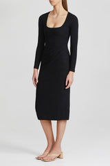 Acler Black Scoop Neck Midi dress with Long Fitted Sleeves and Gathering at Side