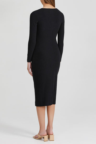 Acler Black Scoop Neck Midi dress with Long Fitted Sleeves and Gathering at Side - Back View