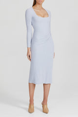 Acler sky blue, fitted midi dress with scoop neckline, long fitted sleeves and gathering at side