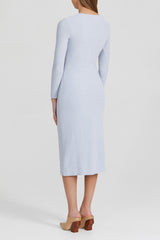 Acler sky blue, fitted midi dress with scoop neckline, long fitted sleeves and gathering at side - back view