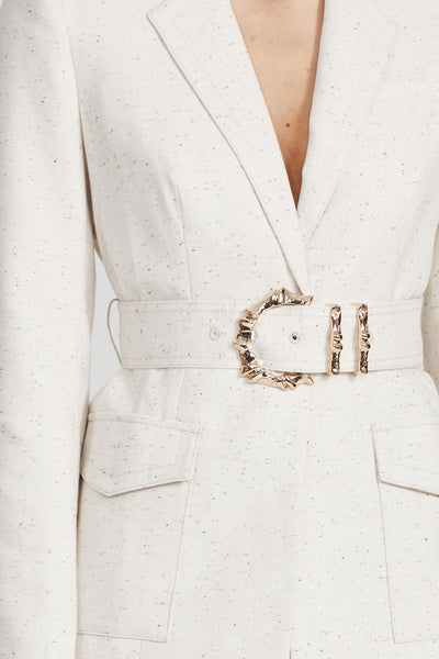 Acler Ladies, Cream, Single Breasted Blazer - Gold Bamboo Hardware Belt